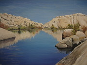 Desert Lake Painting Posters - Barker Dam Poster by Barbara  Prestridge