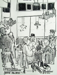 Restaurant Drawings Prints - Barkin Dog Grill Print by James  Christiansen