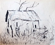 Barn Pen And Ink Drawings Prints - Barn 1 Print by Rod Ismay