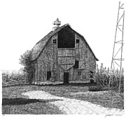 Barn Pen And Ink Drawings Prints - Barn 10 Print by Joel Lueck
