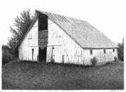 Old Barns Drawings Posters - Barn 16 Poster by Joel Lueck
