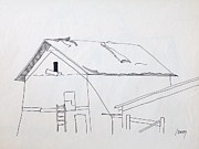 Barn Pen And Ink Drawings Prints - Barn 2 Print by Rod Ismay