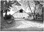 Fall Scenes Drawings Posters - Barn 20 Poster by Joel Lueck