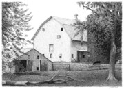 Old Barns Drawings Metal Prints - Barn 23 Metal Print by Joel Lueck