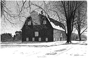 Rural Snow Scenes Drawings Prints - Barn 24 Maplenol Barn Print by Joel Lueck