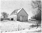 Winter Scenes Drawings - Barn 25 by Joel Lueck