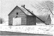 Corn Drawings Prints - Barn 26 Print by Joel Lueck