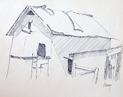 Barn Pen And Ink Drawings Prints - Barn 3 Print by Rod Ismay