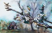 Peaceful Scene Painting Prints - Barn and Blossoms Print by Tara Thelen