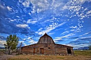 Mountains Photographs Posters - Barn and clouds Poster by Matt Suess