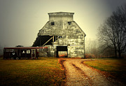Indiana Autumn Prints - Barn and Horse Trailer Print by Mark Orr