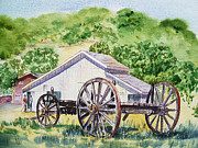Writer Painting Originals - Barn and Old Wagon at Eugene O Neill Tao House by Irina Sztukowski