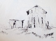 Barn Pen And Ink Drawings Prints - Barn and Shed Print by Rod Ismay
