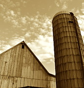 Haybarn Posters - Barn and Silo in sepia Poster by JD Grimes