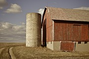 Wooden Barn Framed Prints - Barn And Silo Framed Print by Odd Jeppesen