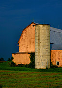 Barn Print Framed Prints - Barn and Silo Framed Print by Steven Ainsworth
