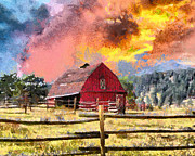 Barn Digital Art Prints - Barn and Sky Print by Anthony Caruso