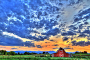Red Barn Prints - Barn and Sky Print by Scott Mahon