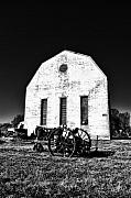 Barn And Tractor In Black And White Print by Bill Cannon