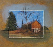 Barn Mixed Media Prints - Barn and Tree layered Print by Anita Burgermeister
