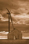 Barn And Windmill 2 Print by Jim Wright