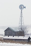 Farm Buildings Prints - Barn and Windmill in Snow Print by Larry Ricker