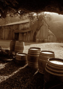Old Barns Framed Prints - Barn and Wine Barrels 2 Framed Print by Kathy Yates