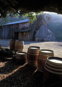 Old Barns Metal Prints - Barn and Wine Barrels Metal Print by Kathy Yates