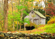 Autumn Foliage Prints - Barn Art - Rustics on Music Mountain Print by Thomas Schoeller