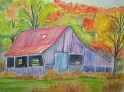 Belinda Lawson Metal Prints - Barn at Round Bottom Metal Print by Belinda Lawson