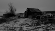 Black And White Photography Pastels Acrylic Prints - Barn at Winter 8 Acrylic Print by Angus Hooper Iii