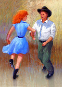 Woman In Black Dress Paintings - Barn Dance Couple by John DeLorimier