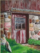 Barn Door Painting Prints - Barn Door in Memphis Print by Barbara Auito