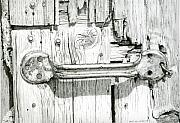 Old Drawings - Barn door by Rob De Vries