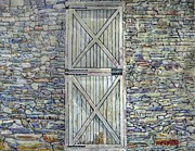Barn Door Painting Framed Prints - Barn Door Stone Wall Framed Print by Donald McGibbon