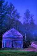 Country Scenes Prints - Barn Fog Print by Emily Stauring