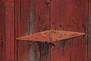 Red Barns Photo Prints - Barn hinge Print by Garry Gay