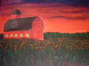 Cornfield Paintings - Barn In Field by Mary Vincent