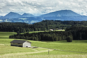 Salzkammergut Framed Prints - Barn in Field with Mountain Background Framed Print by Jon Boyes