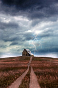 Frightening Posters - Barn in Lightning Storm Poster by Jill Battaglia