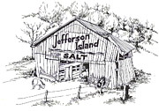 Tennessee Drawings Originals - Barn in Midwest - Jefferson Island Salt by Robert Birkenes