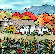 Vermont Tapestries - Textiles Originals - Barn in Pomfret Vermont by Linda Marcille