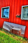Farm Scenes Posters - Barn In Reflection Poster by Emily Stauring