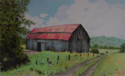 Old Barn Drawing Originals - Barn in Ripon by Wilfrid Barbier