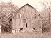 Old Building Pyrography Framed Prints - Barn in Sepia Framed Print by Gail Schmiedlin