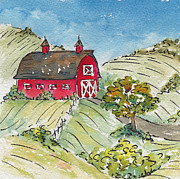 Red Barn Paintings - Barn In The Country by Pat Katz
