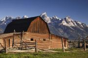 Snow Capped Mountains Posters - Barn in the Mountains Poster by Andrew Soundarajan