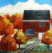 Autumn Trees Drawings Posters - Barn in the Orchard Poster by John  Williams