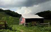 Usa Flag Prints - Barn in the USA Print by Karen Wiles