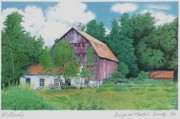Barn Drawing Drawings - Barn near Granby by Wilfrid Barbier